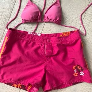 OP hot pink orange shirt board shorts woman's 9